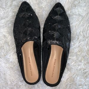 NWOT who what wear sequin mule flats